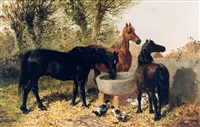 <i>horses watering at a trough</i> by john frederick herring the younger