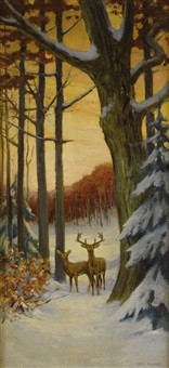 deer in a winter forest by stacy tolman