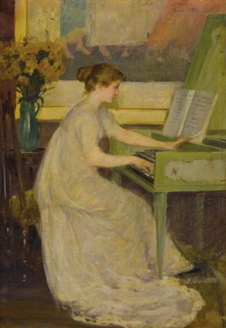 girl playing the harpsichord by mary fairchild macmonnies low