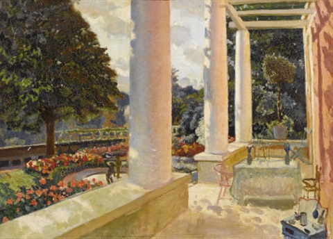 the macmonnies estate terrace in giverny by mary louise fairchild low