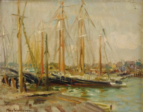 docked sailboats by mary louise fairchild low