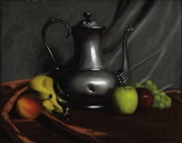 still life with fruit and teapot by herbert e. abrams