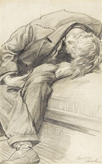 untitled, man slouched on bench by carl link