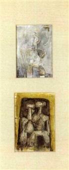 cubist figure constructions (pair) by samuel marcus adler