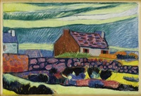 cottage with rock fence by andre alexeyevich jawlensky