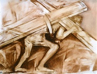christ carrying his cross by krishen khanna