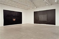 installation view: black fireplace (left), black windows (right) by toba khedoori