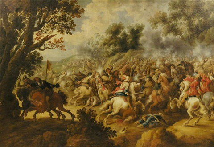 große vielfigurige schlachtenszene aus den spanisch niederländischen erbfolgekriegen by simon johannes van douw