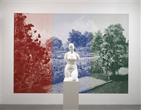 garden sculpture( torso) and1.postcard (essen) by katharina fritsch