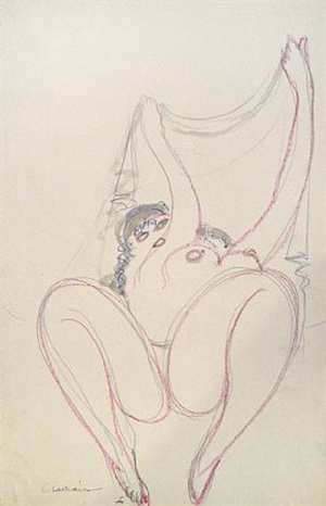 nude holding scarf by gaston lachaise