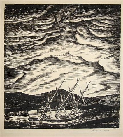 ship in the typhoon by rockwell kent