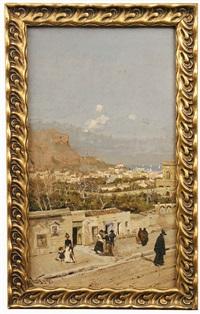 straßenszene in einer italienische hafenstadt mit spaziergängern by alberto vianelli