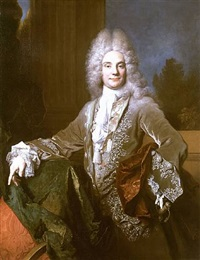 portrait of pierre-joseph titon de cogny, three-quarter-length, in a brown velvet jacket trimmed with silvered embroidery and a waistcoat with silver and red brocade by nicolas de largillière
