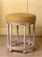 tabouret circulaire en bois peint blanc et filets or by andré groult
