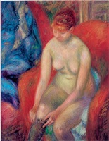 nude pulling on stocking by william glackens