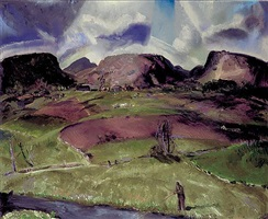 trout stream and mountains by george wesley bellows