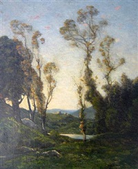 wooded ladscape by henri joseph harpignies
