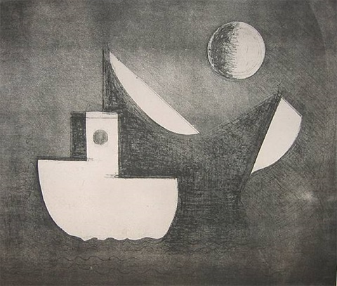 still boats and moon by paul resika