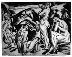 four nudes in a landscape by jan matulka