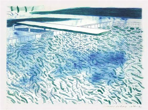 lithograph of water made of lines and a green wash (t.204) by david hockney
