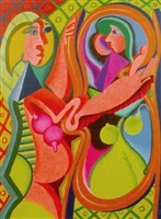 picasso's girl in a mirror i by peter saul