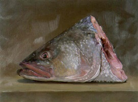 head of sea bass (homage to chardin) by andrew lenaghan