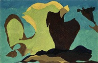 untitled (gold, green, brown) by arthur dove