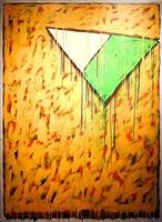 triangulation vert, or et orange by serge lemoyne