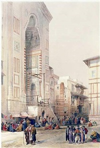 grand entrance to the mosque of sultan hassan by david roberts