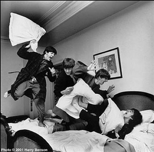 the beatles, hotel george v, paris (pillow fight) by harry benson
