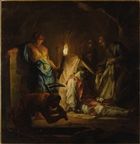 the entombment of a cleric by torchlight by jean restout the younger