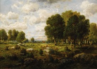 landscape with trees and stream by c.e. picault