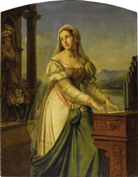 woman at the organ before a statue of the virgin and child (saint cecilia ?) by marie-philippe coupin de la couperie