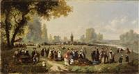 dimanche, dans le parc (+ dimanche au bord de la mer; pair) by pierre théodore colson