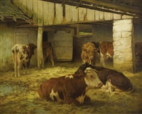 cows in a stable by william henry howe