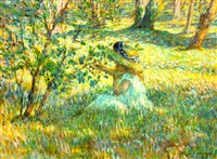 fillette dans un paysage by henri lebasque