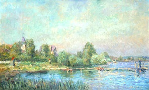 les bords de seine à muids by albert lebourg
