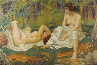 jeunes femmes au jardin by karel spillar