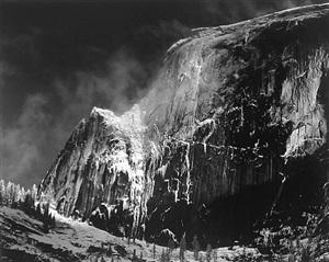 half dome blowing snow, yosemite, ca by ansel adams