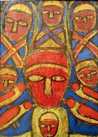 untitled (red and yellow faces and birds on blue background) by michel nedjar