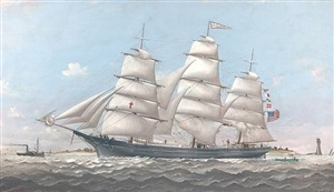 ship lucy g. dow off marshall point lighthouse by charles sidney raleigh