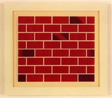 no title (small red brick drawing) by robert therrien