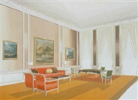 the french diplomat's office (detail: full print), series os 3 (editioned photos, each carpet unique) by barbara bloom