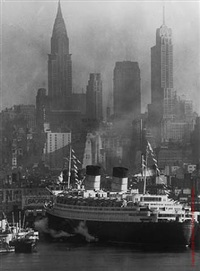 queen elizabeth and the chysler building, new york by andreas feininger