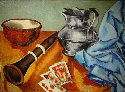 still life with recorder and cards by john graham