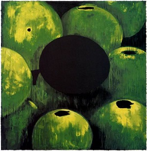 green apples and egg april 8, 2000 by donald sultan