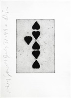 playing card (six of spades), 1991 by donald sultan