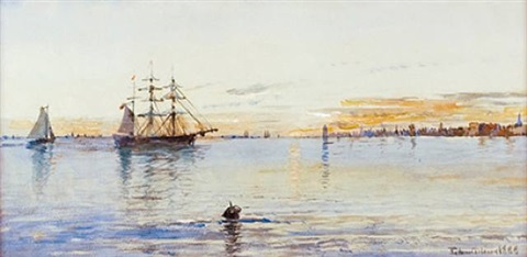 pulling into port, possibly new bedford harbor by edmund darch lewis