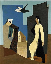 femme et oiseau by léopold survage