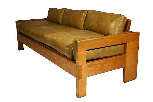 Oak And Leather Sofa, 1970u0027s By Arthur Espenet Carpenter